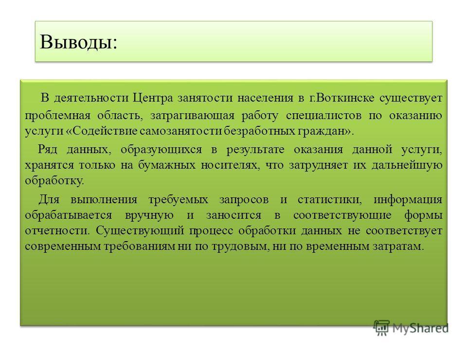Выводы: В деятельности Центра занятости населения в г.Воткинске существует проблемная область, затрагивающая работу специалистов по оказанию услуги «Содействие самозанятости безработных граждан». Ряд данных, образующихся в результате оказания данной