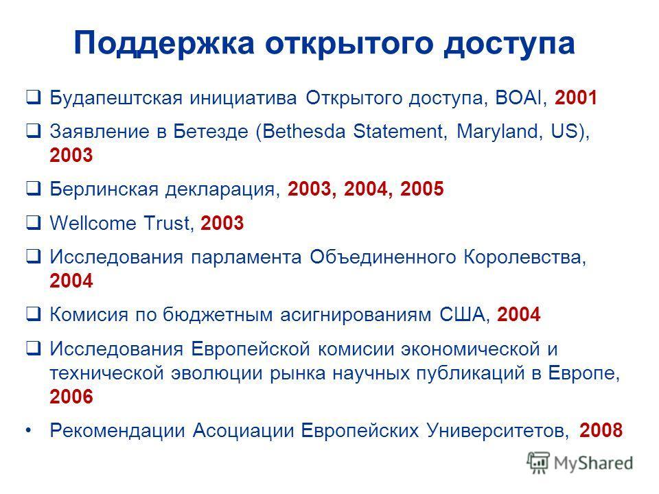 Поддержка открытого доступа Будапештская инициатива Открытого доступа, BOAI, 2001 Заявление в Бетезде (Bethesda Statement, Maryland, US), 2003 Берлинская декларация, 2003, 2004, 2005 Wellcome Trust, 2003 Исследования парламента Объединенного Королевс