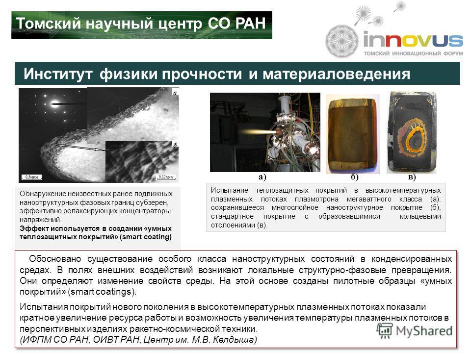 Институт физики прочности и материаловедения 0,3мкм а б 0,12мкм Обнаружение неизвестных ранее подвижных наноструктурных фазовых границ субзерен, эффективно релаксирующих концентраторы напряжений. Эффект используется в создании «умных теплозащитных по
