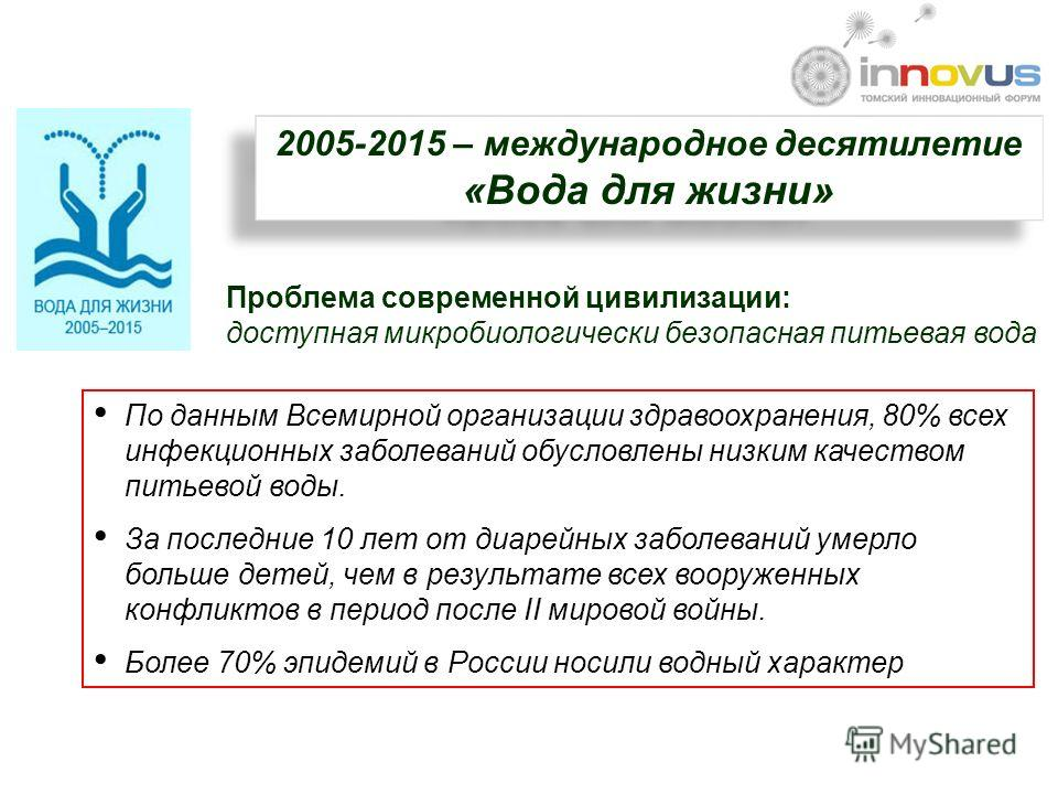 2005-2015 – международное десятилетие «Вода для жизни» 2005-2015 – международное десятилетие «Вода для жизни» Проблема современной цивилизации: доступная микробиологически безопасная питьевая вода По данным Всемирной организации здравоохранения, 80%