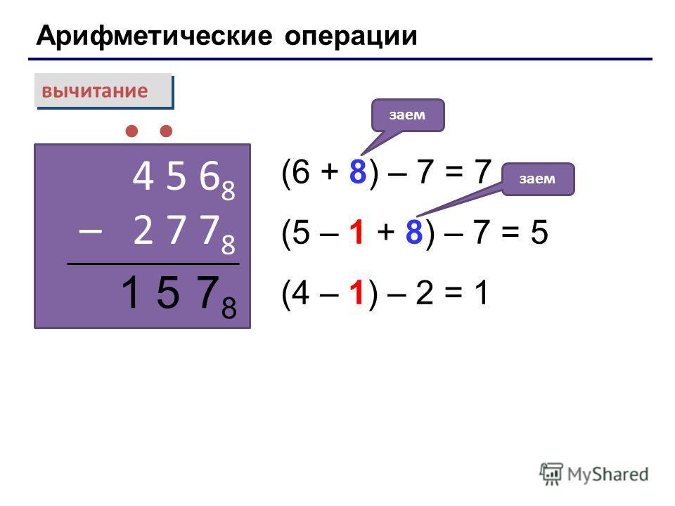 Арифметические операции вычитание 4 5 6 8 – 2 7 7 8 (6 + 8) – 7 = 7 (5 – 1 + 8) – 7 = 5 (4 – 1) – 2 = 1 заем 7878 15 Лекция 4: Системы счисления