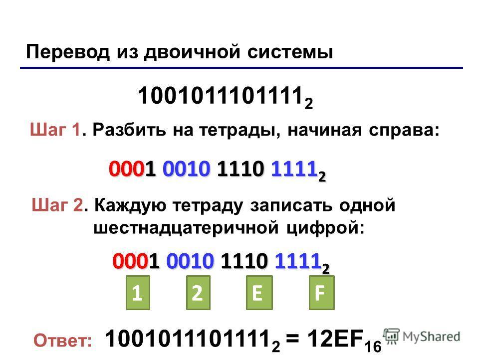 Перевод из двоичной системы 1001011101111 2 Шаг 1. Разбить на тетрады, начиная справа: 0001 0010 1110 1111 2 Шаг 2. Каждую тетраду записать одной шестнадцатеричной цифрой: 0001 0010 1110 1111 2 12EF Ответ: 1001011101111 2 = 12EF 16 Лекция 4: Системы