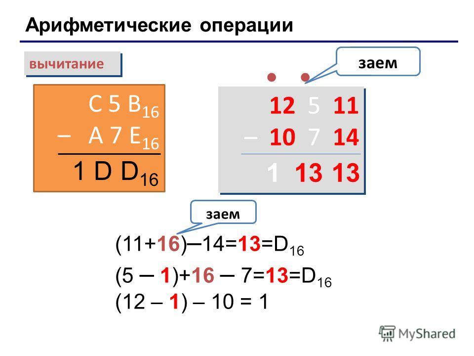 Арифметические операции вычитание С 5 B 16 – A 7 E 16 заем 1 D D 16 12 5 11 – 10 7 14 12 5 11 – 10 7 14 (11+16) – 14=13=D 16 (5 – 1)+16 – 7=13=D 16 (12 – 1) – 10 = 1 заем 131 Лекция 4: Системы счисления