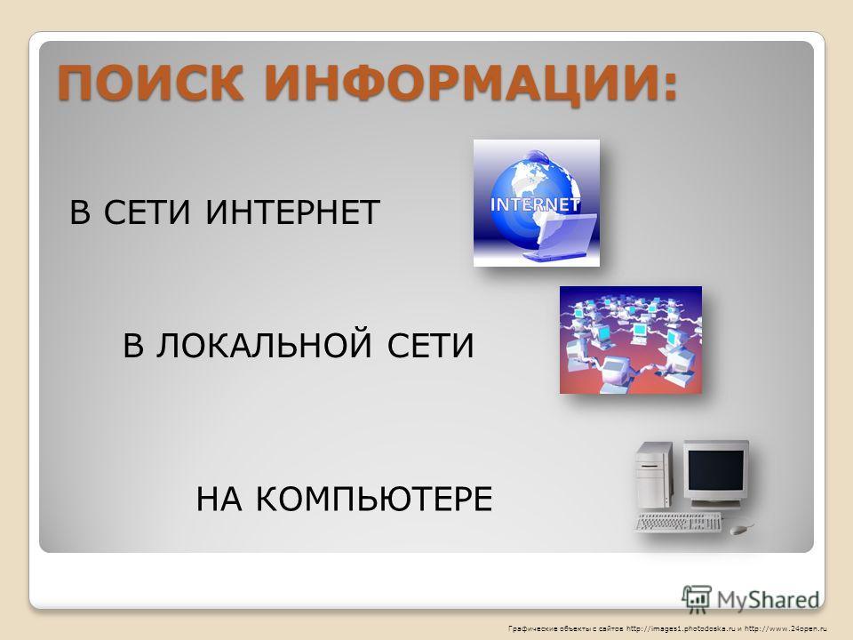 ПОИСК ИНФОРМАЦИИ: НА КОМПЬЮТЕРЕ В ЛОКАЛЬНОЙ СЕТИ В СЕТИ ИНТЕРНЕТ Графические объекты с сайтов http://images1.photodoska.ru и http://www.24open.ru