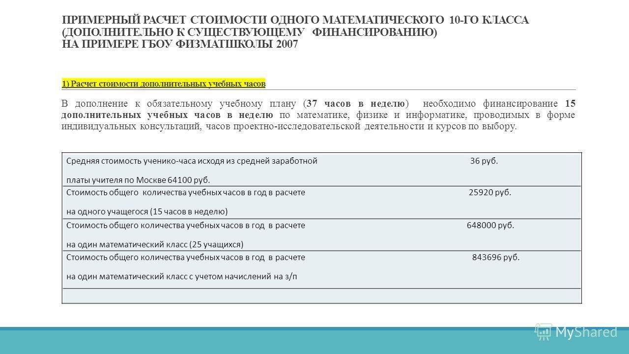 ПРИМЕРНЫЙ РАСЧЕТ СТОИМОСТИ ОДНОГО МАТЕМАТИЧЕСКОГО 10-ГО КЛАССА (ДОПОЛНИТЕЛЬНО К СУЩЕСТВУЮЩЕМУ ФИНАНСИРОВАНИЮ) НА ПРИМЕРЕ ГБОУ ФИЗМАТШКОЛЫ 2007 1) Расчет стоимости дополнительных учебных часов В дополнение к обязательному учебному плану (37 часов в не