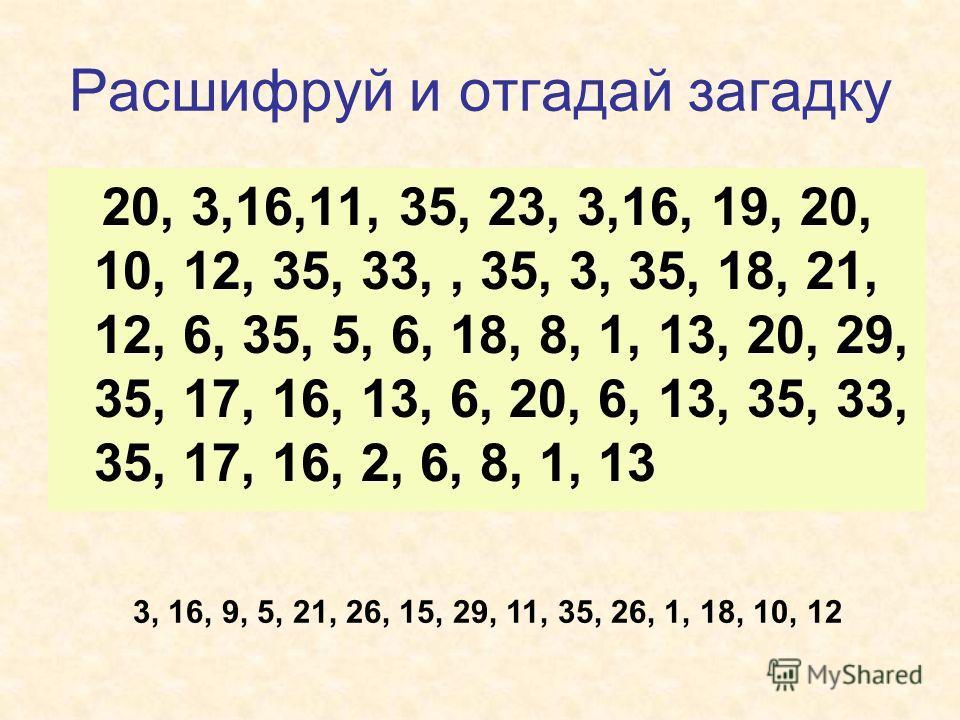 Расшифруй и отгадай загадку 20, 3,16,11, 35, 23, 3,16, 19, 20, 10, 12, 35, 33,, 35, 3, 35, 18, 21, 12, 6, 35, 5, 6, 18, 8, 1, 13, 20, 29, 35, 17, 16, 13, 6, 20, 6, 13, 35, 33, 35, 17, 16, 2, 6, 8, 1, 13 3, 16, 9, 5, 21, 26, 15, 29, 11, 35, 26, 1, 18,