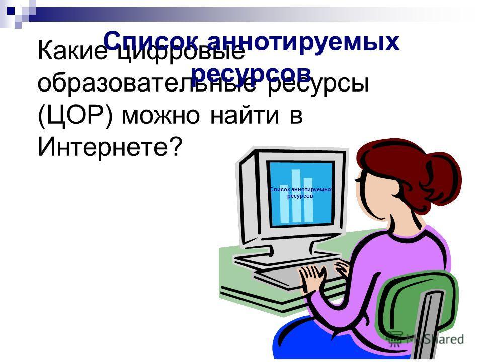 Какие цифровые образовательные ресурсы (ЦОР) можно найти в Интернете? Список аннотируемых ресурсов