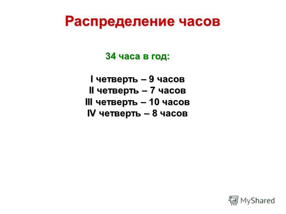 Распределение часов 34 часа в год: I четверть – 9 часов II четверть – 7 часов III четверть – 10 часов IV четверть – 8 часов