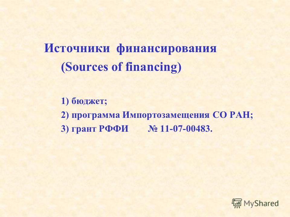 Источники финансирования (Sources of financing) 1) бюджет; 2) программа Импортозамещения СО РАН; 3) грант РФФИ 11-07-00483.
