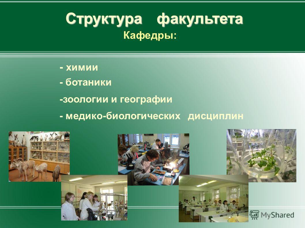 Структура факультета Кафедры: - химии - ботаники -зоологии и географии - медико-биологических дисциплин