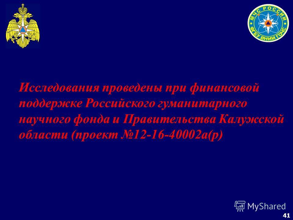 41 Исследования проведены при финансовой поддержке Российского гуманитарного научного фонда и Правительства Калужской области (проект 12-16-40002а(р)