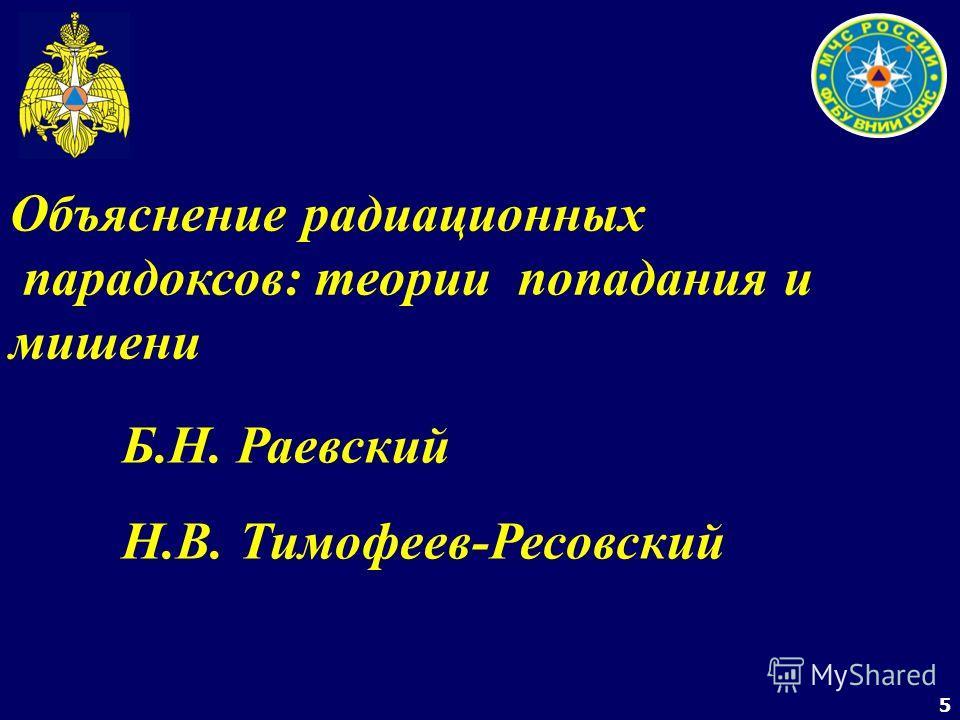 5 Объяснение радиационных парадоксов: теории попадания и мишени Б.Н. Раевский Н.В. Тимофеев-Ресовский
