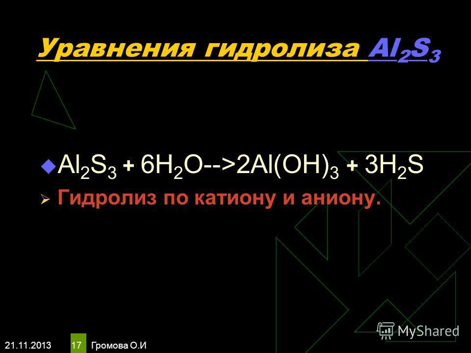 21.11.2013 Громова О.И 17 Уравнения гидролиза Al 2 S 3 Al 2 S 3 + 6H 2 O-->2Al(OH) 3 + 3H 2 S Гидролиз по катиону и аниону.