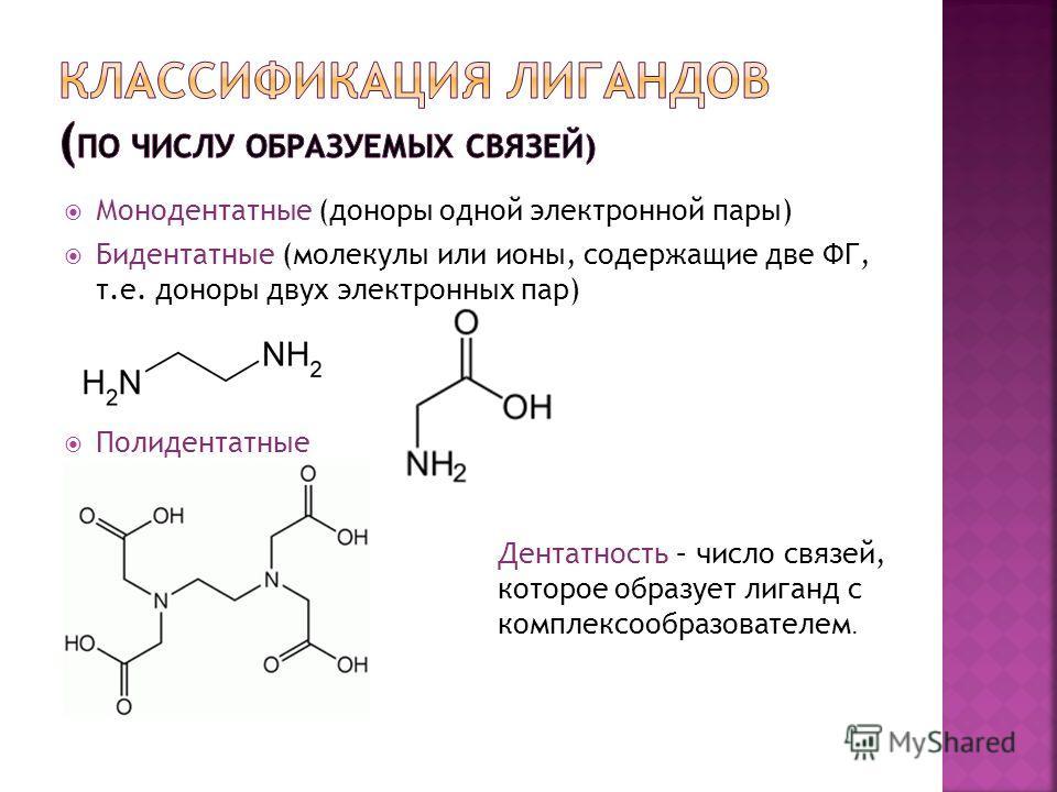 Монодентатные (доноры одной электронной пары) Бидентатные (молекулы или ионы, содержащие две ФГ, т.е. доноры двух электронных пар) Полидентатные Дентатность – число связей, которое образует лиганд с комплексообразователем.