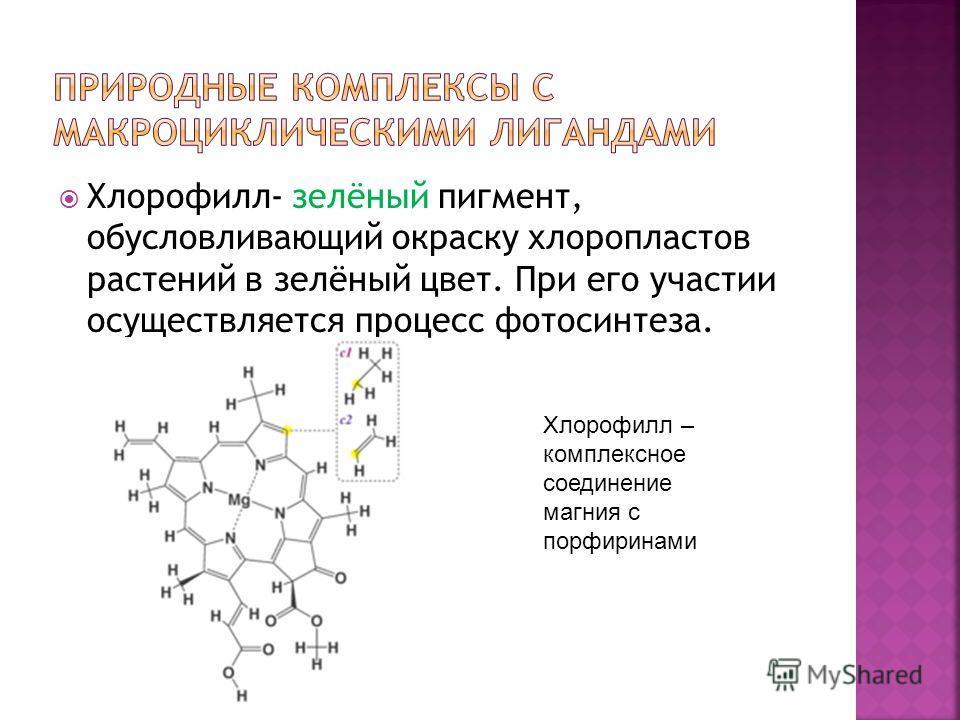 Хлорофилл- зелёный пигмент, обусловливающий окраску хлоропластов растений в зелёный цвет. При его участии осуществляется процесс фотосинтеза. Хлорофилл – комплексное соединение магния с порфиринами