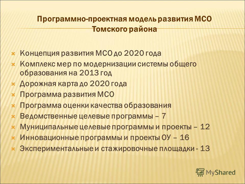 Программно-проектная модель развития МСО Томского района Концепция развития МСО до 2020 года Комплекс мер по модернизации системы общего образования на 2013 год Дорожная карта до 2020 года Программа развития МСО Программа оценки качества образования