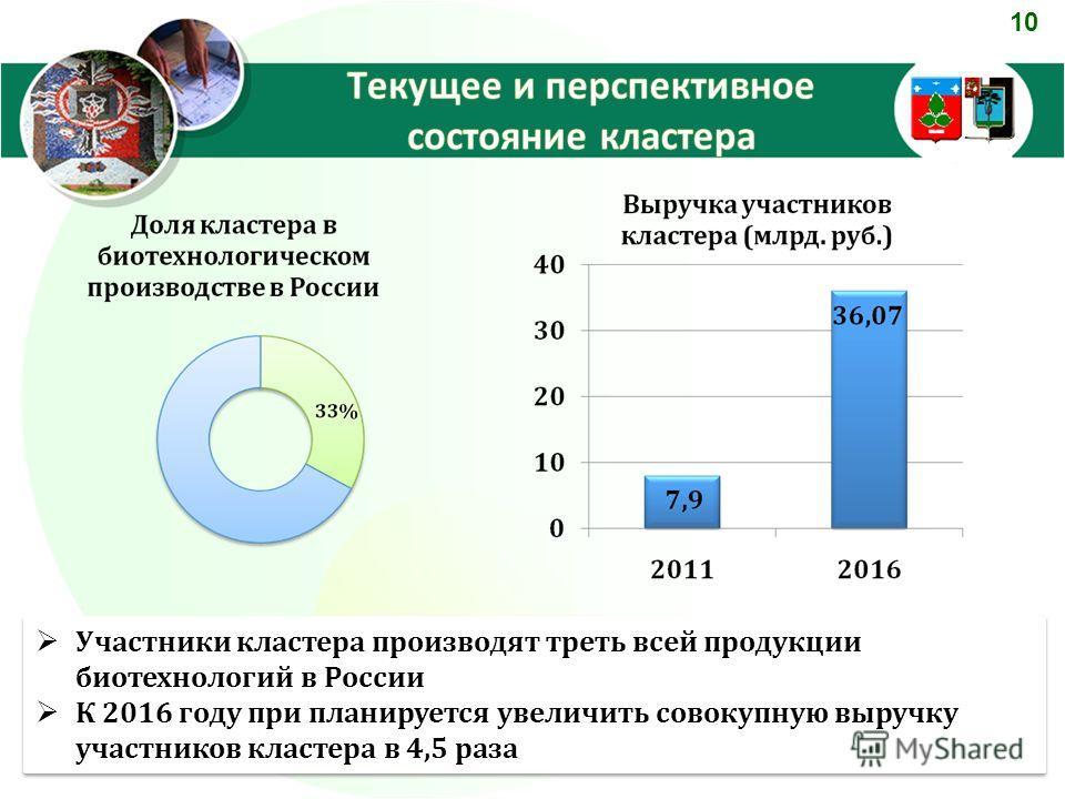 10 Участники кластера производят треть всей продукции биотехнологий в России К 2016 году при планируется увеличить совокупную выручку участников кластера в 4,5 раза Участники кластера производят треть всей продукции биотехнологий в России К 2016 году