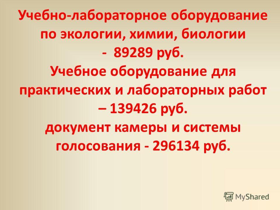 Учебно-лабораторное оборудование по экологии, химии, биологии - 89289 руб. Учебное оборудование для практических и лабораторных работ – 139426 руб. документ камеры и системы голосования - 296134 руб.