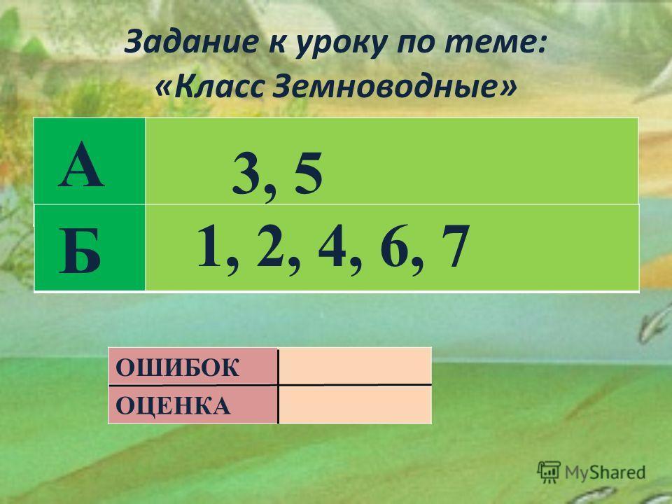 Задание к уроку по теме: «Класс Земноводные» А Б ОШИБОК ОЦЕНКА 3, 5 1, 2, 4, 6, 7