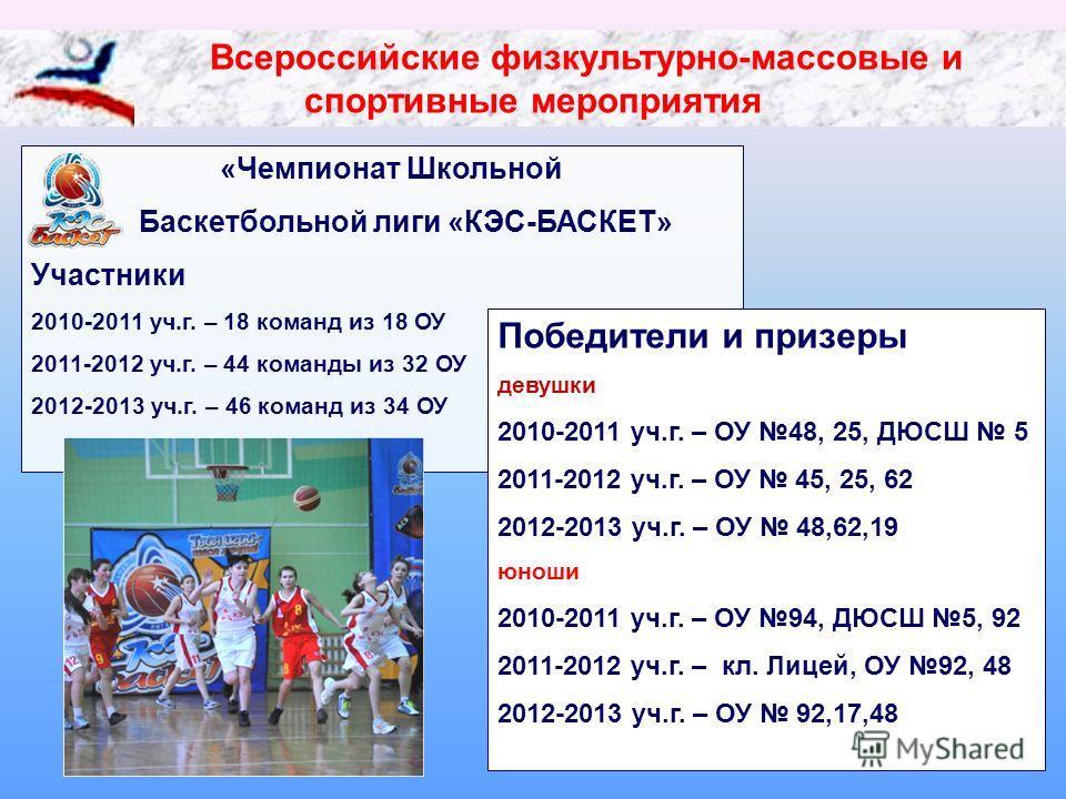 Всероссийские физкультурно-массовые и спортивные мероприятия «Чемпионат Школьной Баскетбольной лиги «КЭС-БАСКЕТ» Участники 2010-2011 уч.г. – 18 команд из 18 ОУ 2011-2012 уч.г. – 44 команды из 32 ОУ 2012-2013 уч.г. – 46 команд из 34 ОУ Победители и пр