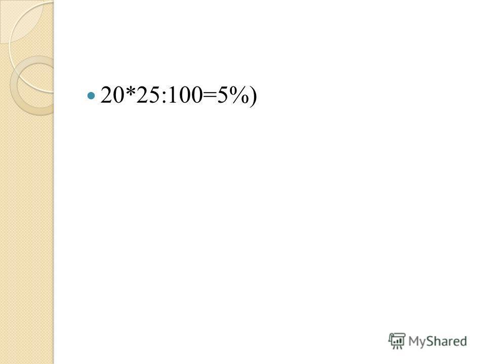 20*25:100=5%)