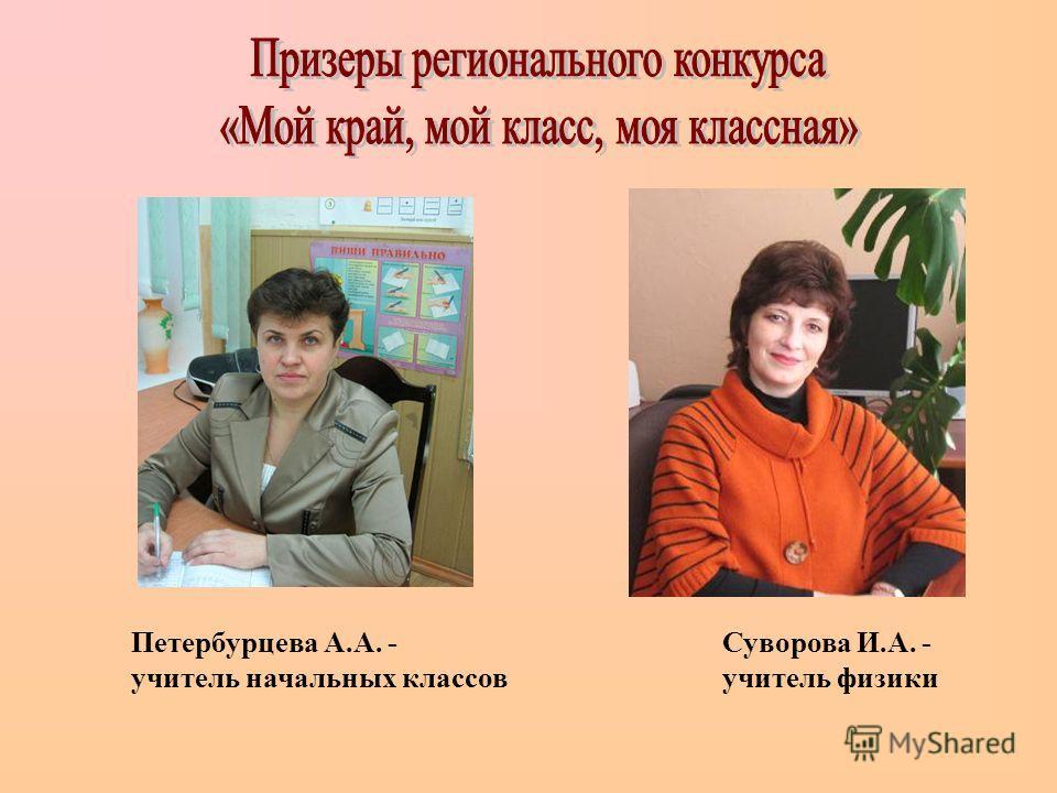 Петербурцева А.А. - учитель начальных классов Суворова И.А. - учитель физики