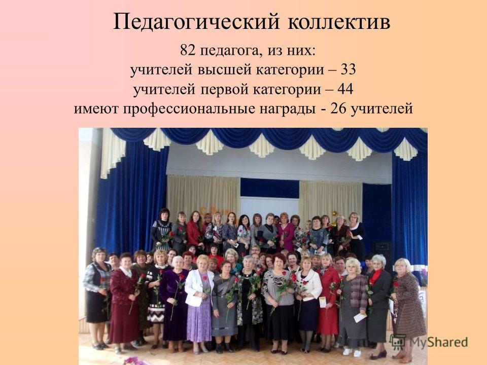 Педагогический коллектив 8 2 педагога, из них: учителей высшей категории – 33 учителей первой категории – 44 имеют профессиональные награды - 26 учителей