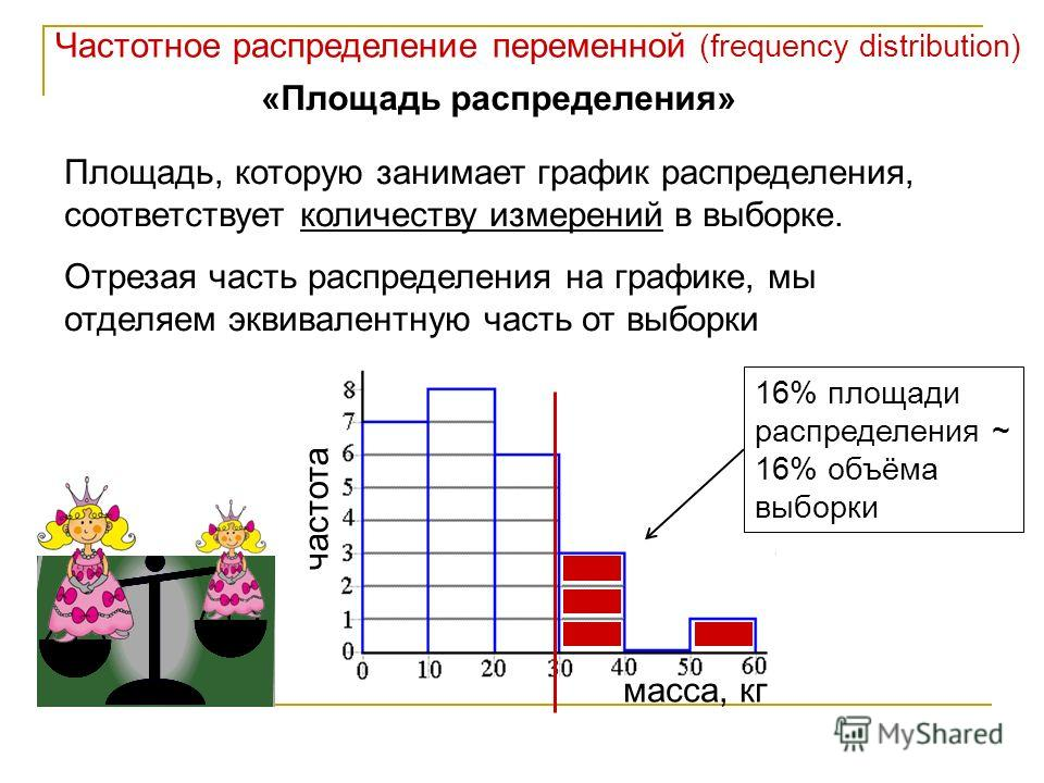 Частотное распределение переменной (frequency distribution) «Площадь распределения» Площадь, которую занимает график распределения, соответствует количеству измерений в выборке. Отрезая часть распределения на графике, мы отделяем эквивалентную часть