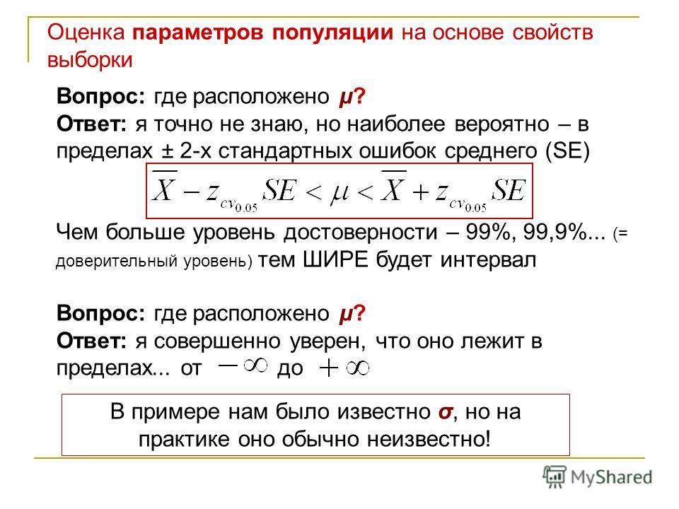 Оценка параметров популяции на основе свойств выборки Вопрос: где расположено μ? Ответ: я точно не знаю, но наиболее вероятно – в пределах ± 2-х стандартных ошибок среднего (SE) Чем больше уровень достоверности – 99%, 99,9%... (= доверительный уровен