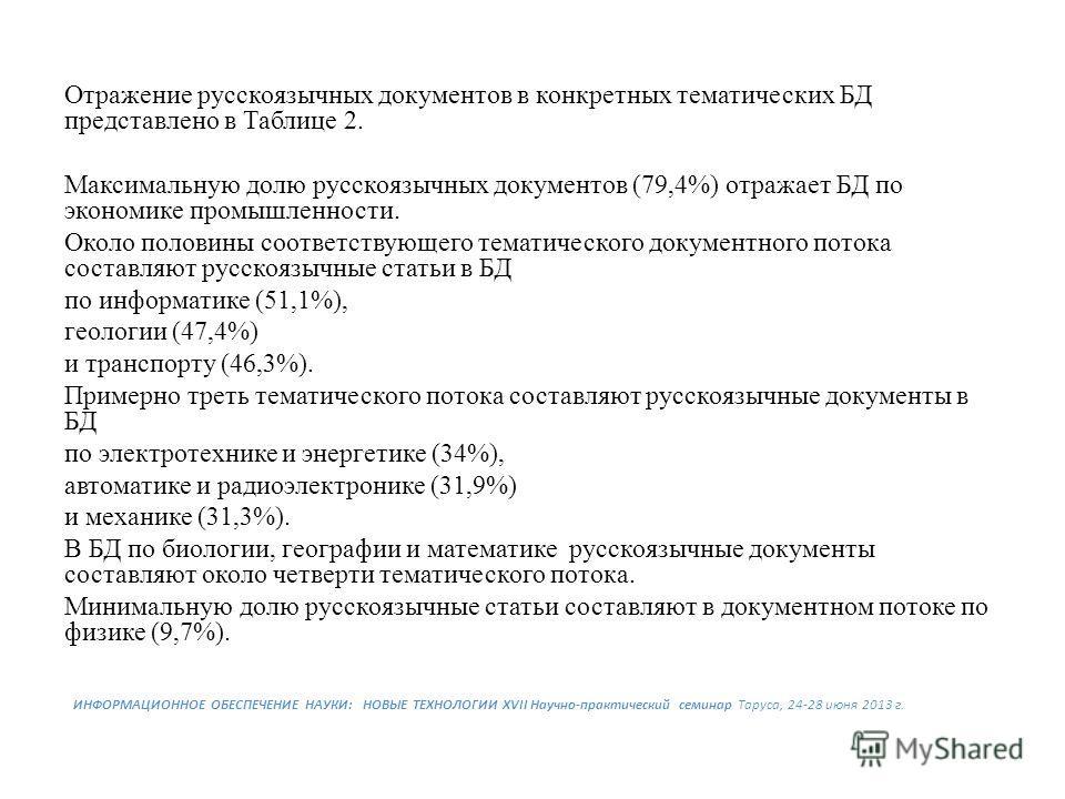 Отражение русскоязычных документов в конкретных тематических БД представлено в Таблице 2. Максимальную долю русскоязычных документов (79,4%) отражает БД по экономике промышленности. Около половины coответствующего тематического документного потока со