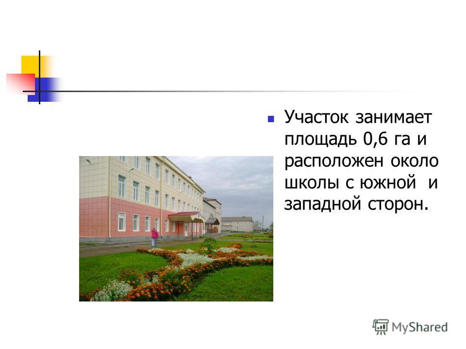 Участок занимает площадь 0,6 га и расположен около школы с южной и западной сторон.