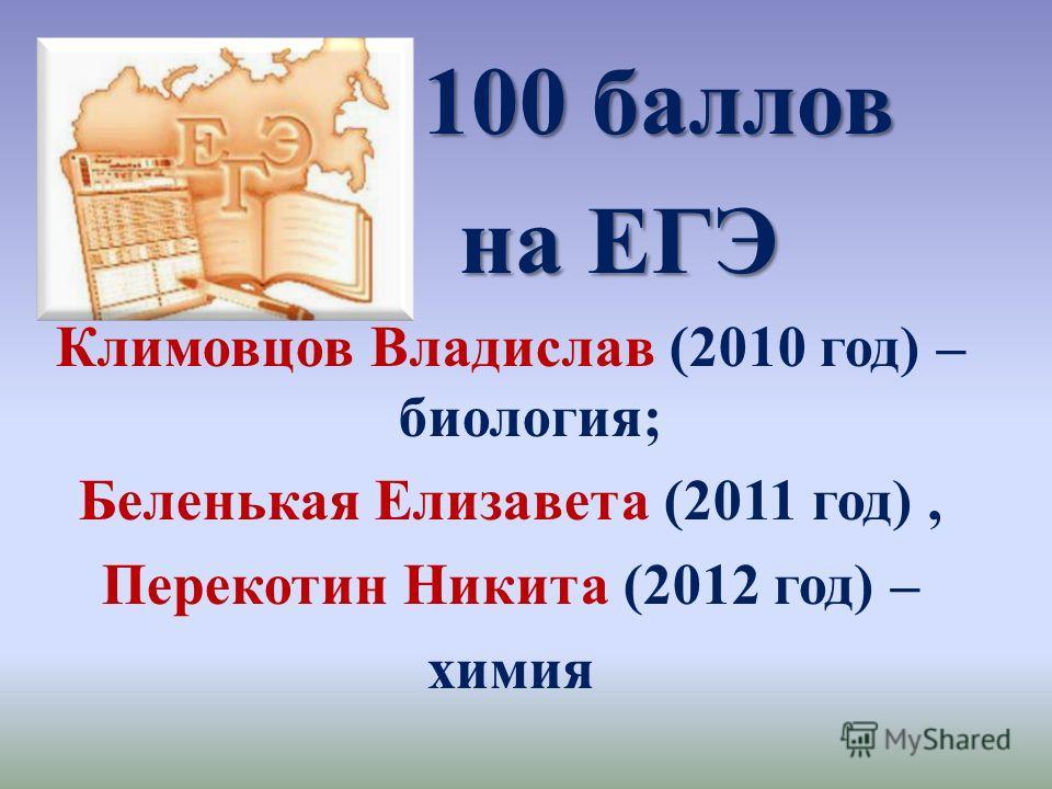 100 баллов на ЕГЭ на ЕГЭ Климовцов Владислав (2010 год) – биология; Беленькая Елизавета (2011 год), Перекотин Никита (2012 год) – химия