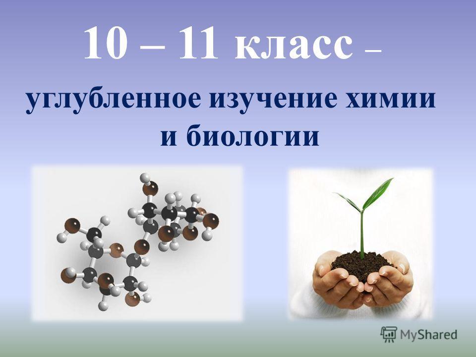 10 – 11 класс – углубленное изучение химии и биологии