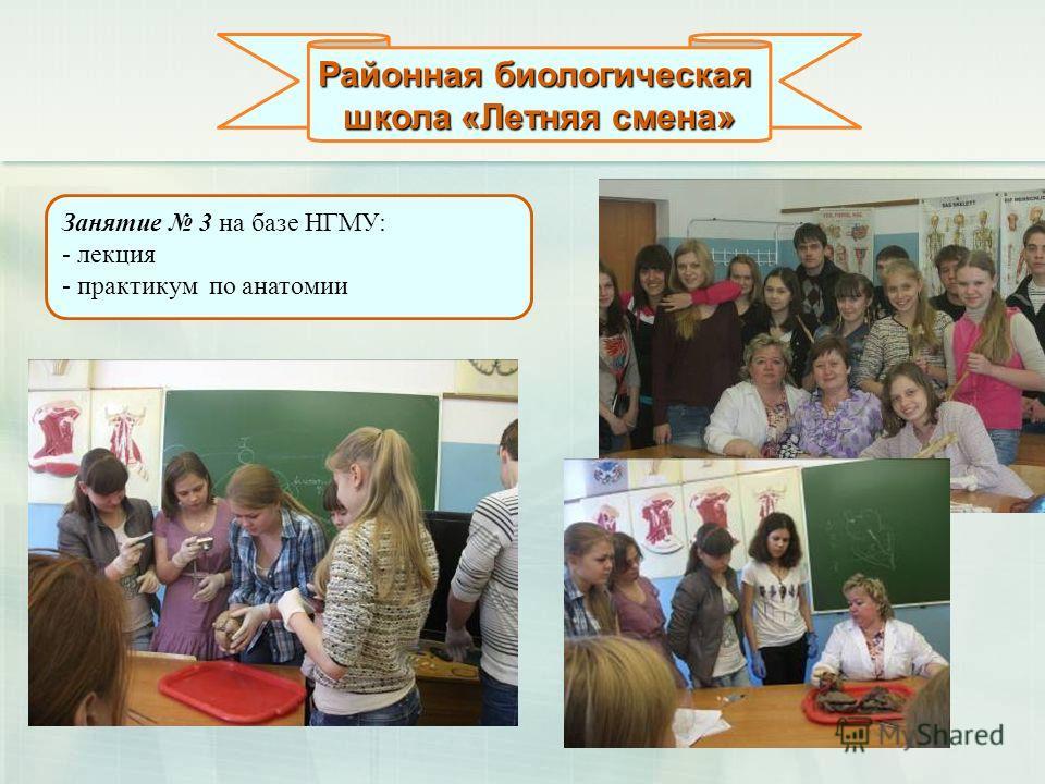 Районная биологическая школа «Летняя смена» Занятие 3 на базе НГМУ: - лекция - практикум по анатомии