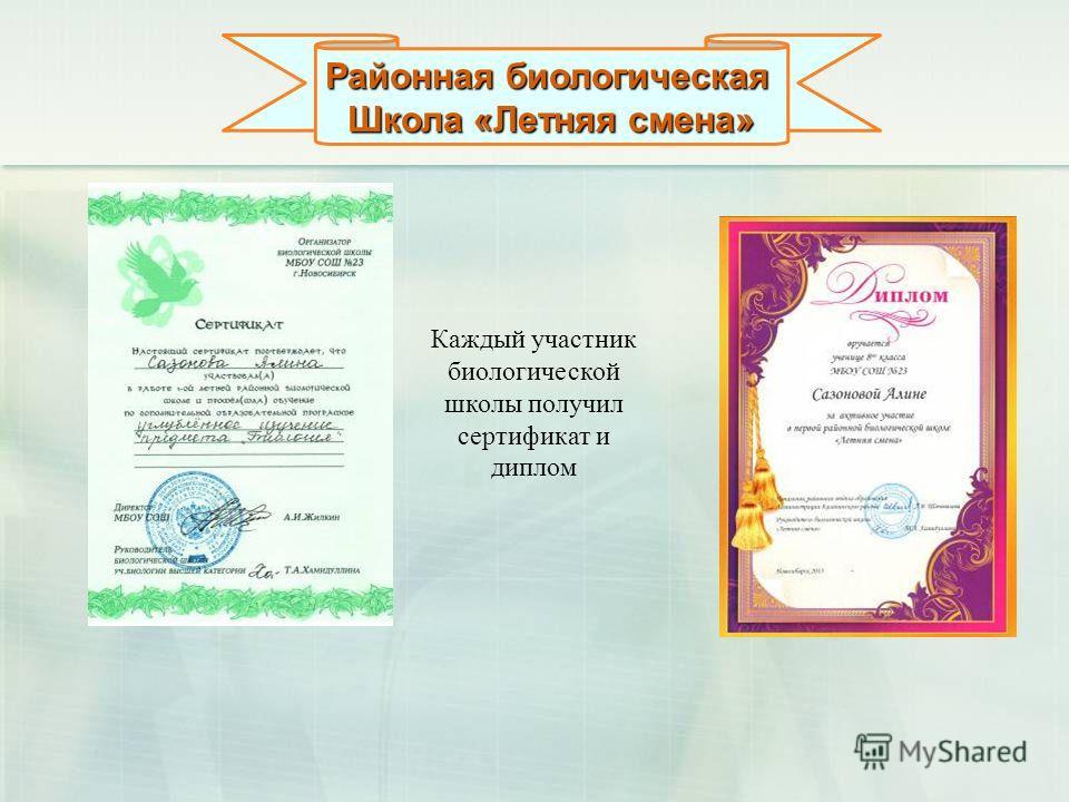 Районная биологическая Школа «Летняя смена» Каждый участник биологической школы получил сертификат и диплом