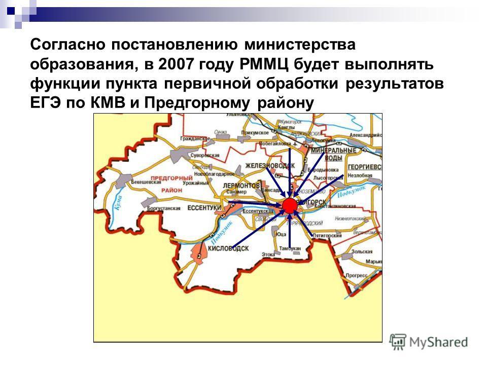 Согласно постановлению министерства образования, в 2007 году РММЦ будет выполнять функции пункта первичной обработки результатов ЕГЭ по КМВ и Предгорному району