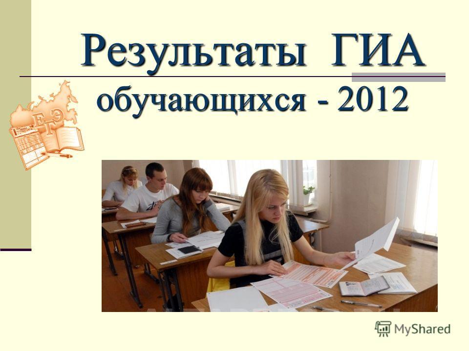 Результаты ГИА обучающихся - 2012 2009 г.