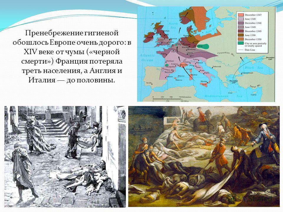 Пренебрежение гигиеной обошлось Европе очень дорого: в XIV веке от чумы («черной смерти») Франция потеряла треть населения, а Англия и Италия до половины.