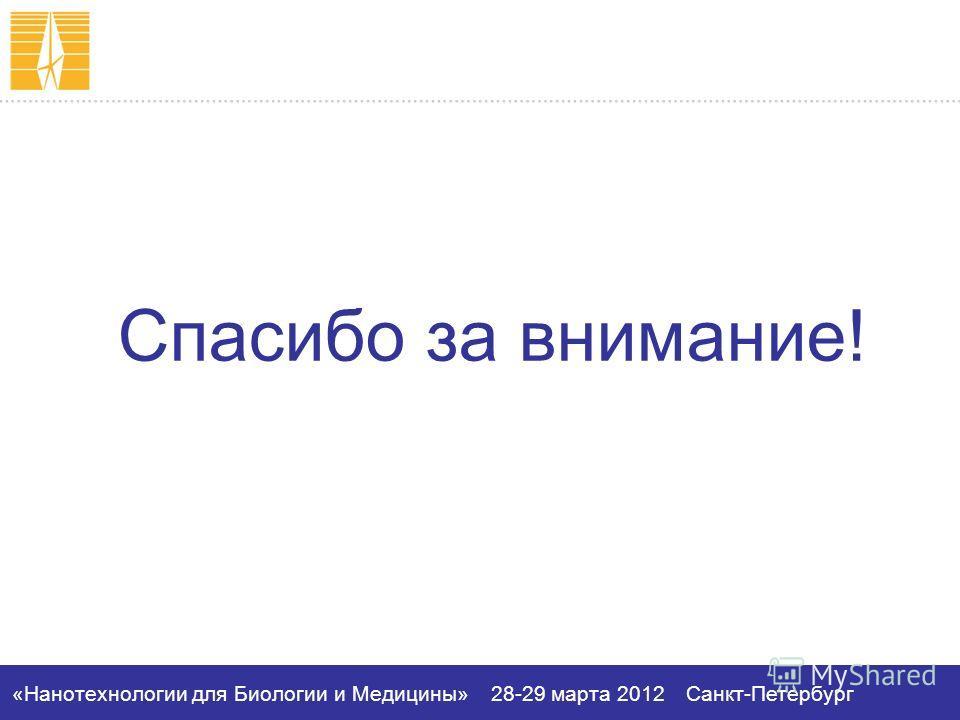 «Нанотехнологии для Биологии и Медицины»28-29 марта 2012Санкт-Петербург Спасибо за внимание!