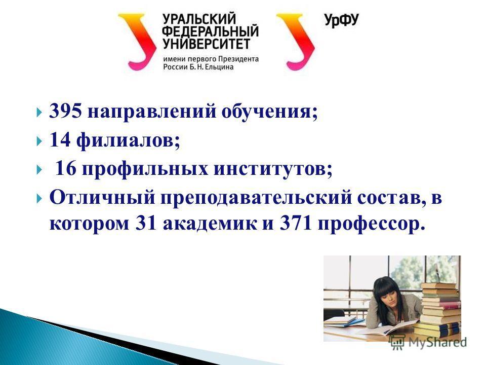 395 направлений обучения; 14 филиалов; 16 профильных институтов; Отличный преподавательский состав, в котором 31 академик и 371 профессор.