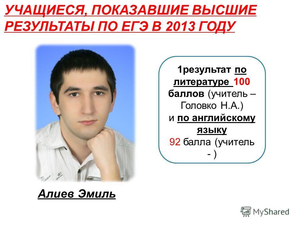 1результат по литературе 100 баллов (учитель – Головко Н.А.) и по английскому языку 92 балла (учитель - ) УЧАЩИЕСЯ, ПОКАЗАВШИЕ ВЫСШИЕ РЕЗУЛЬТАТЫ ПО ЕГЭ В 2013 ГОДУ Алиев Эмиль