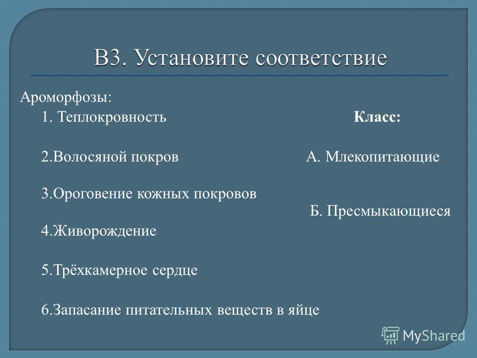 Ароморфозы: 1. Теплокровность Класс: 2.Волосяной покров А. Млекопитающие 3.Ороговение кожных покровов Б. Пресмыкающиеся 4.Живорождение 5.Трёхкамерное сердце 6.Запасание питательных веществ в яйце