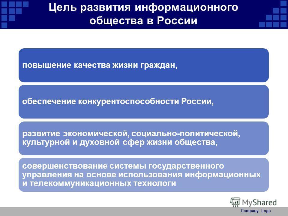 Цель развития информационного общества в России повышение качества жизни граждан,обеспечение конкурентоспособности России, развитие экономической, социально-политической, культурной и духовной сфер жизни общества, совершенствование системы государств