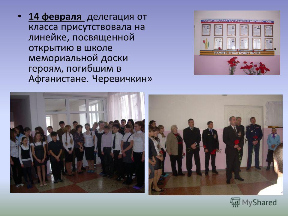 14 февраля делегация от класса присутствовала на линейке, посвященной открытию в школе мемориальной доски героям, погибшим в Афганистане. Черевичкин»