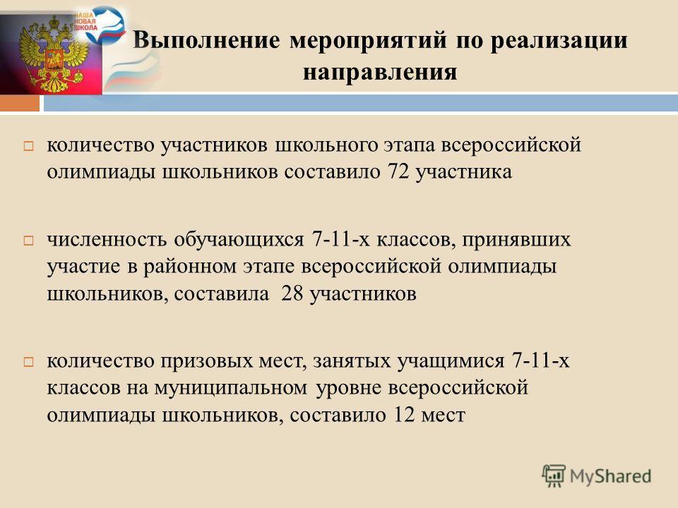 Выполнение мероприятий по реализации направления количество участников школьного этапа всероссийской олимпиады школьников составило 72 участника численность обучающихся 7-11-х классов, принявших участие в районном этапе всероссийской олимпиады школьн