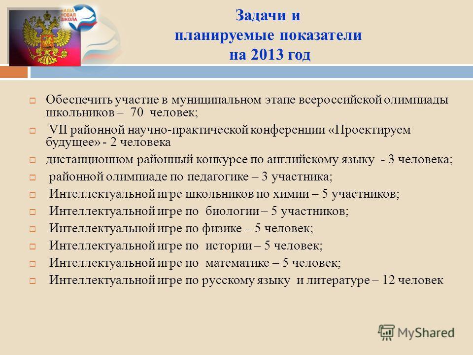 Задачи и планируемые показатели на 2013 год Обеспечить участие в муниципальном этапе всероссийской олимпиады школьников – 70 человек; VII районной научно-практической конференции «Проектируем будущее» - 2 человека дистанционном районный конкурсе по а