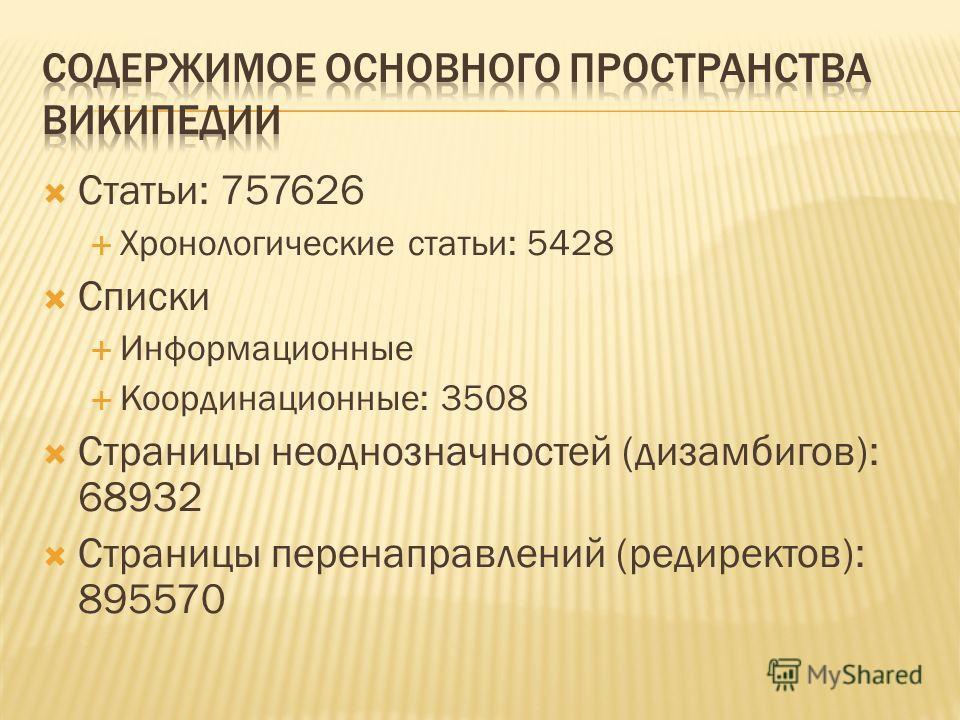 Статьи: 757626 Хронологические статьи: 5428 Списки Информационные Координационные: 3508 Страницы неоднозначностей (дизамбигов): 68932 Страницы перенаправлений (редиректов): 895570