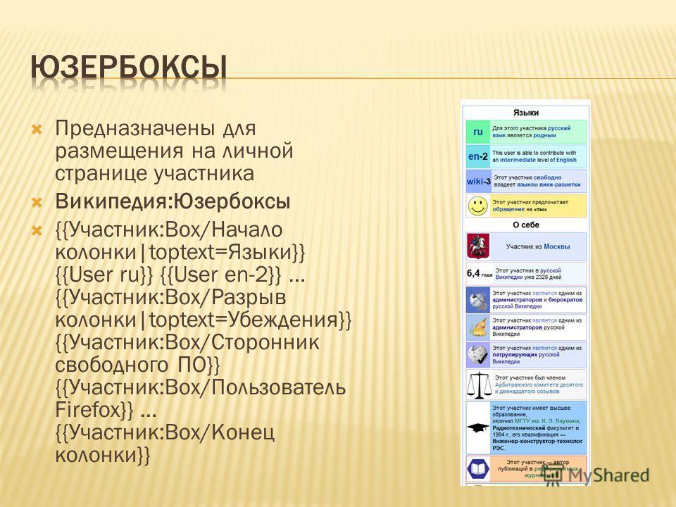 Предназначены для размещения на личной странице участника Википедия:Юзербоксы {{Участник:Box/Начало колонки|toptext=Языки}} {{User ru}} {{User en-2}} … {{Участник:Box/Разрыв колонки|toptext=Убеждения}} {{Участник:Box/Сторонник свободного ПО}} {{Участ