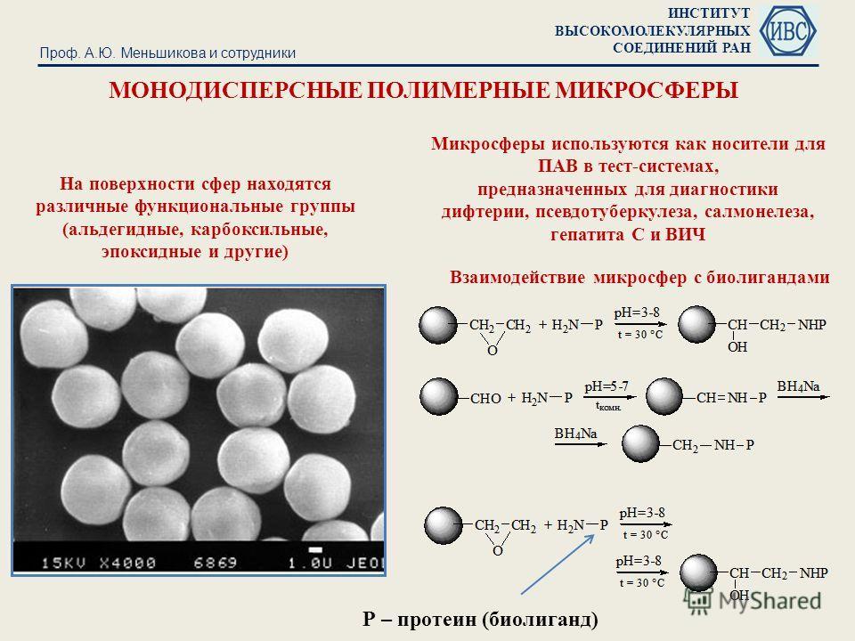 ИНСТИТУТ ВЫСОКОМОЛЕКУЛЯРНЫХ СОЕДИНЕНИЙ РАН МОНОДИСПЕРСНЫЕ ПОЛИМЕРНЫЕ МИКРОСФЕРЫ Проф. А.Ю. Меньшикова и сотрудники На поверхности сфер находятся различные функциональные группы (альдегидные, карбоксильные, эпоксидные и другие) Микросферы используются