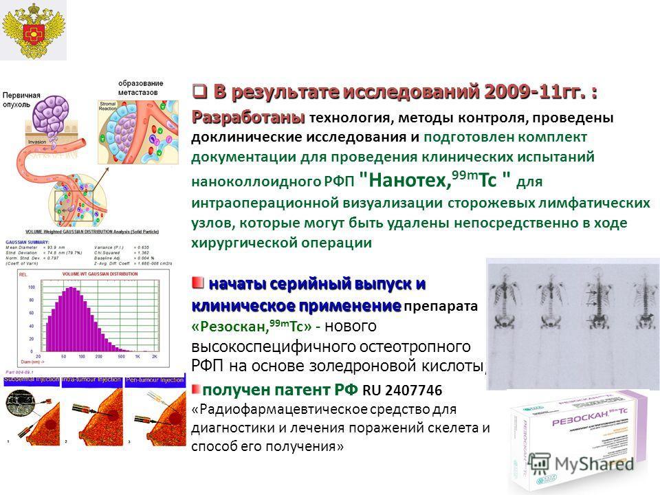 В результате исследований 2009-11гг. : В результате исследований 2009-11гг. : Разработаны Разработаны технология, методы контроля, проведены доклинические исследования и подготовлен комплект документации для проведения клинических испытаний наноколло